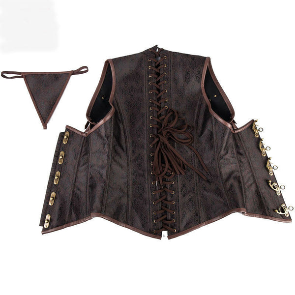Gothic Corset Steampunk Cosplay Armor Bustier With Shoulder Bolero Steel Boned Corset Plus Size Burlesque Costume