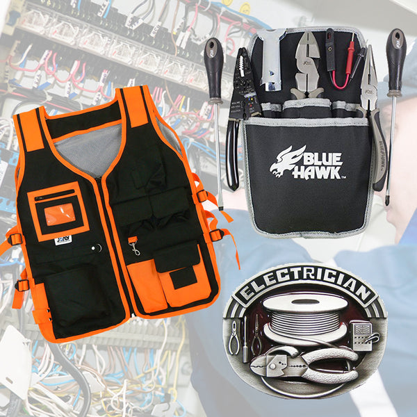 EXCLUSIVE LIMITED TIME  3 in 1 DEAL !  Electricians' Utility Tool Vest + Utility Pouch & Tool Set + Belt Buckle - FREE Shipping