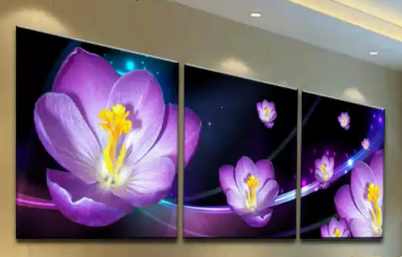 Crocus Flower Canvas Wall Art (frame not included) 3 Panels - Free Shipping