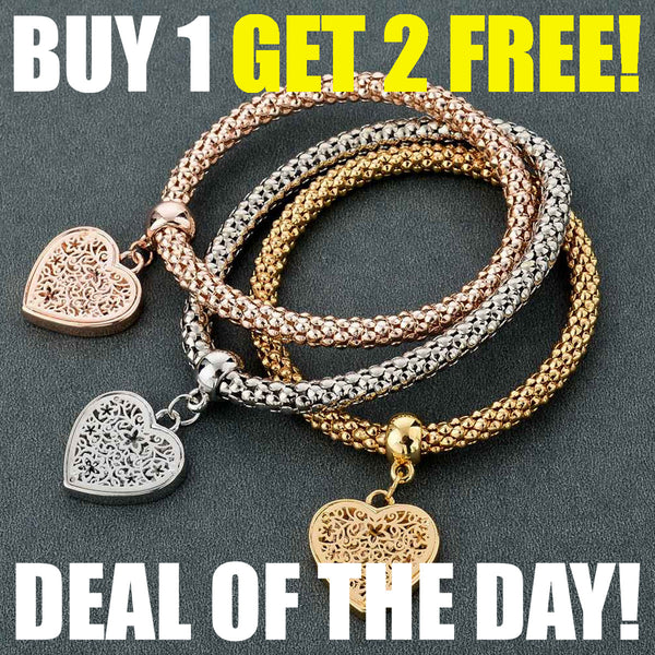 3PC Love Heart Charm Bracelets in Gold, Silver & Pink, Buy 1, Get 2  MORE FREE !