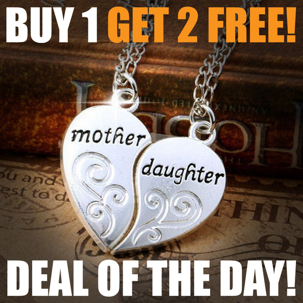2PC Silver Plated Heart Mother Daughter Necklace + Pendant, Buy 1, Get 2 MORE FREE !