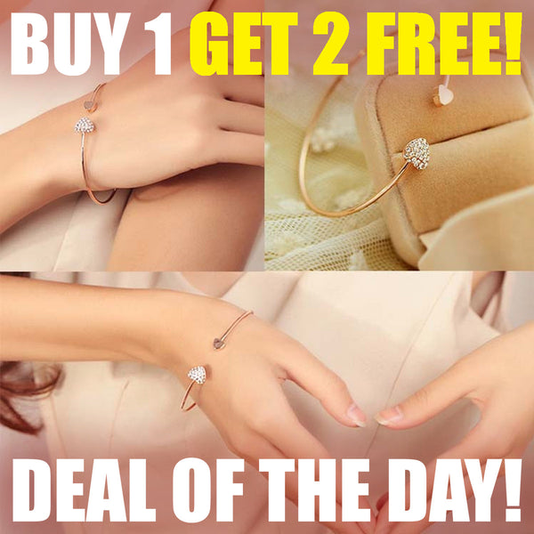 Double Love Heart, Gold Plated Opening Bracelet -  Buy 1, Get  2 MORE  FREE !