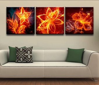 Firey Flowers Canvas Wall Art