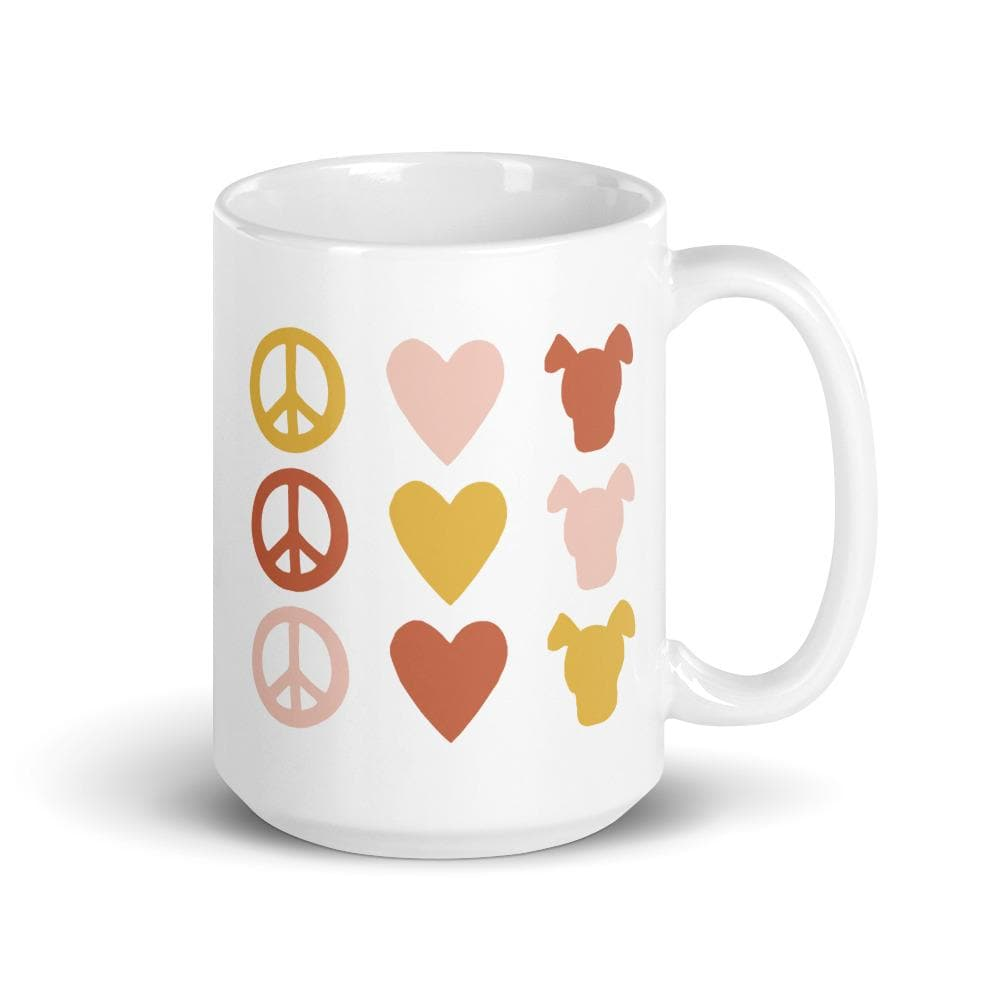 Peace Love & Dogs Icon Mug mug Woof & Wild 15oz