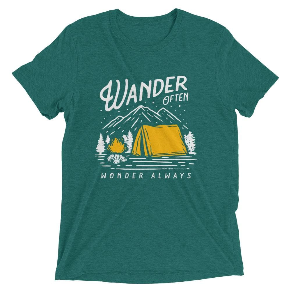 Wander Often Tee tee Woof & Wild Teal Triblend XS