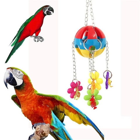 1 Set Colorful Pet Parrot Hanging Toy Mix Color