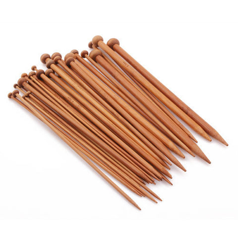 Carbinized Single Pointed Bamboo Knitting Needles 36pc