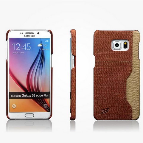 Fiber Carbon Back Cover For Samsung S6 Edge with Card Holder