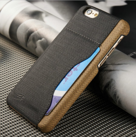 Fiber Carbon Back Cover For iPhone 6 6s with Card Holder