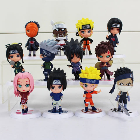 12Styles Naruto 8cm Action Figure New Sasuke Ninja Kakashi Model Toy