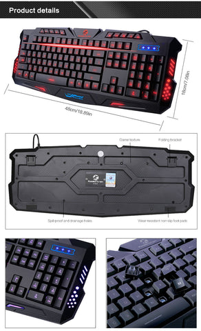 2016 Koolertron New LED Illuminated Ergonomic Gaming Keyboard Mouse USB