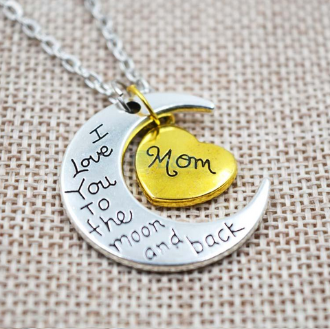 I Love You To The Moon And Back Silver Family Necklace