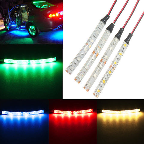 10CM 6 LED 5050 LED Flexible Strip Light Car Auto Decor Lamp Warm White/Blue/Red/Green Waterproof IP65 DC12V Car Styling