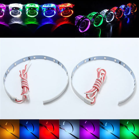 2pcs LED Multi-color Super Bright 360 Degree SMD Demon LED Halo Rings Kit Devil Eye For All Car Projector Headlight