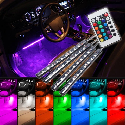 4pcs/set 9 LED RGB Car Auto Interior Floor Decorative Lamp Atmosphere Light Strip Lamp With Remote Control Car Styling 12V