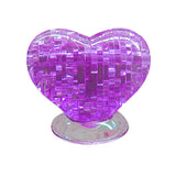 3D Puzzle Crystal Furnish Heart Jigsaw Puzzle IQ Gadget Pur Love Heart Educational Toys Plastic Model Kits Purple - Benzi Shop