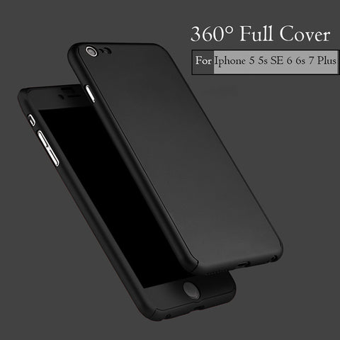 6 6s 7 Plus 360 Case Full Body Coque Phone Cases for iPhone 5 5s SE 6 6S 7 Plus Hard PC Protective Cover Free Clear Screen Film