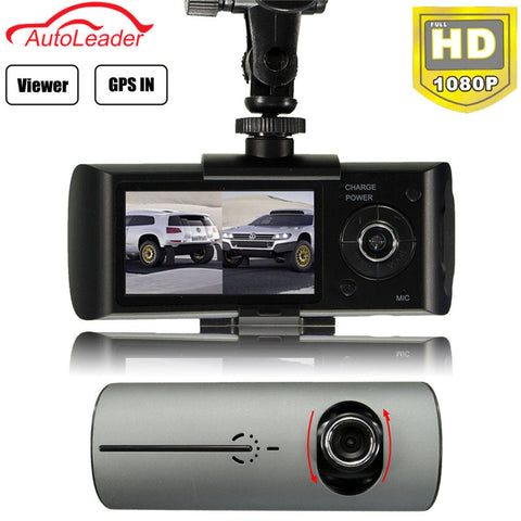 2.7'' Dual Lens Car DVR Dash Camera with GPS G-Sensor Camcorder 140 Degree Wide Angle Cam Video Digital Recorder
