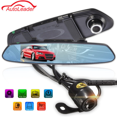 Newest 4.3 Inch 170 Degree 1080P Rearview Mirror Dual Lens Car DVR Dash Camera Vehicle Video Recorder