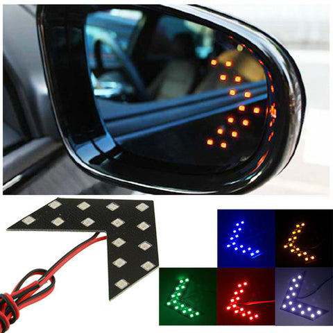 2pcs Car styling 14 SMD LED Arrow Panel Light Car Side Mirror Signal Car Rear View Mirror Indicator Light