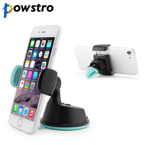 Universal Car Holder 2 in 1 Rotatable Phone Holder Stand with Sucker Base & Air Vent Clip Windshield Console Bracket for iPhone