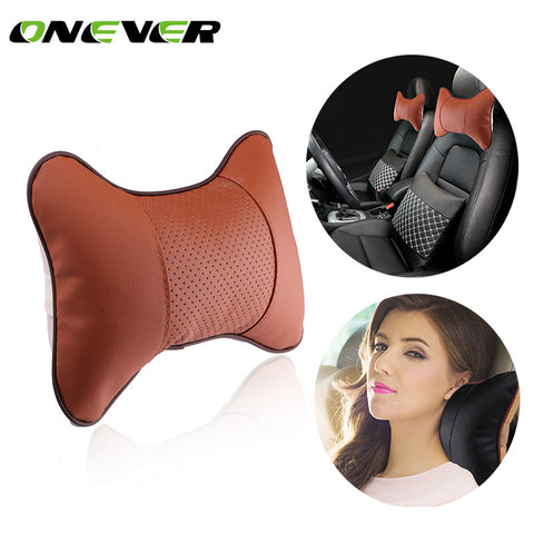 1Pcs Car Neck Pillow PU Leather Seat Car Seat Head Neck Rest Headrest Car Rest Cushion For Universal Car 28X20CM