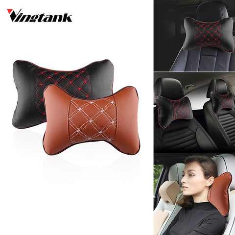 Vingtank PU Leather PP Cotton Car Headrest Neck Pillow Auto Seat Cover Head Neck rest Cushion Headrest Pillow Car Accessories