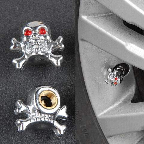 1pc Sliver Universal Fancy Pirate Skull Tire Tyre Air Valve Stem Caps for Auto Car Truck Motorcycle Bike Wheel Rims