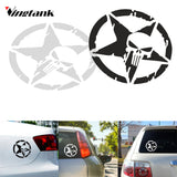 "Vingtank Star Skull Car Sticker Decals Cool Window Wall Creative Sticker Car Styling Accessories 4.6"" Dia. White & Black"