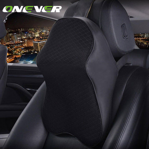 Onever Neck Support Pillow Car Pillow Memory Foam Headrest Neck Automobile Auto Seat Head Protection Rest Leather Neck Pillow