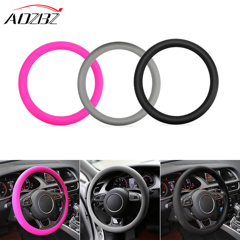 AOZBZ Silicone Auto Car Steering Wheel Cover Need Stitch for Most 36-40cm Cars Wheel Glove Cover Soft Accessories Universal