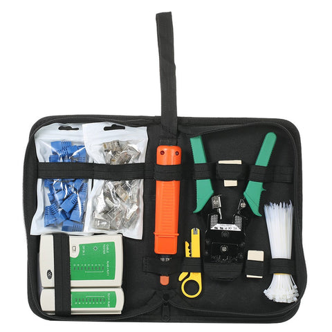 10pcs/set Network Cable Tester Kit 9-in-1 Professional Network Tool Kit Net Computer Maintenance Tools with Storage Pouch