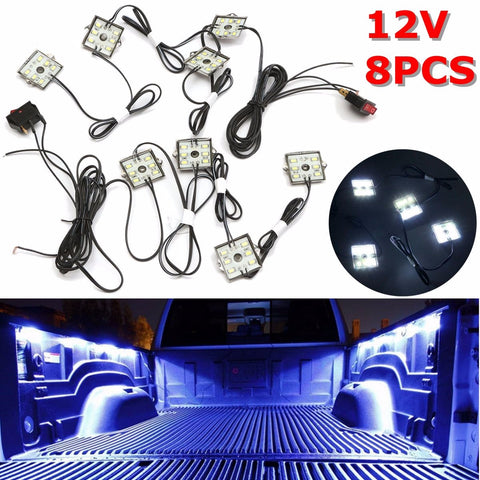 12V 8pcs Waterproof 5630 SMD Truck Bed/Work Box Led Lighting Kit White Beam