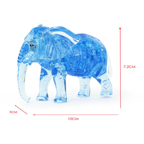 3D Crystal Puzzle Cute Elephant Model DIY Gadget Blocks Building Toy Gift