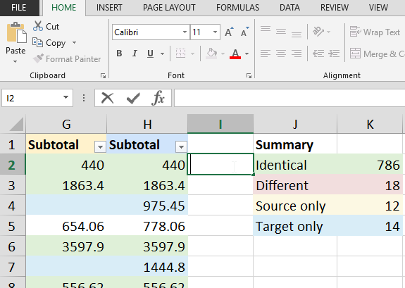 Excel data comparison - use cases