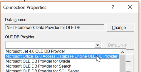 Microsoft.ACE.OLEDB.12.0 OLEDB driver selection for comparing Excel spreadsheets
