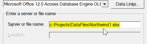 Data connection properties - Excel spreadheet file name specification for data comparison
