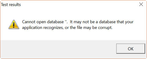 Cannot open database ''. It may not be a database that your application recognizes, or the file may be corrupt.