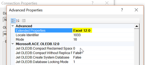 Advenced settings, Extended Properties: Excel 12.0