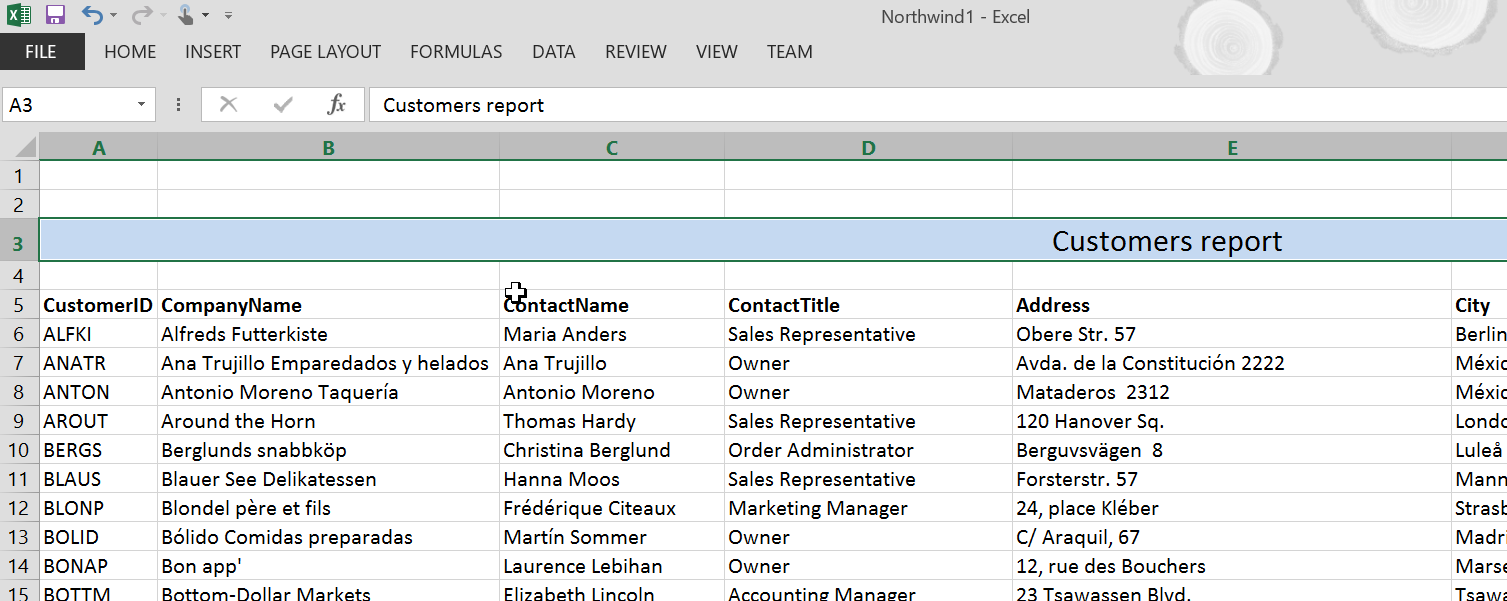 Excel report with title starting in the second row