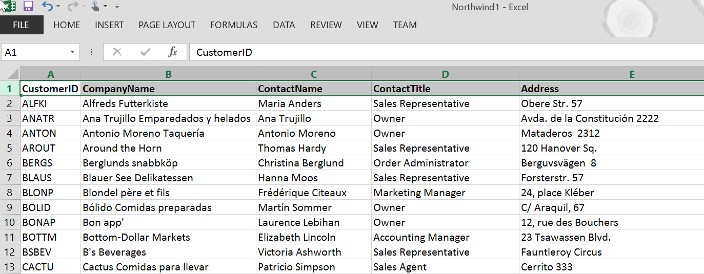 Excel data with headers
