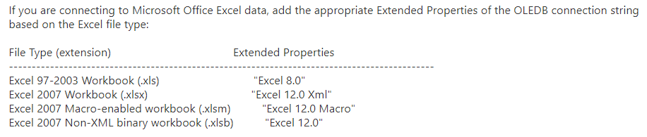 Screenshot with documentation of the Excel data connection parameters
