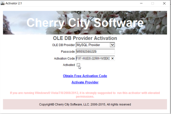 Cherry City Software OleDB provider activation