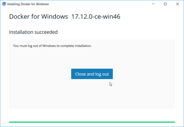 Docker for windows installer - final step