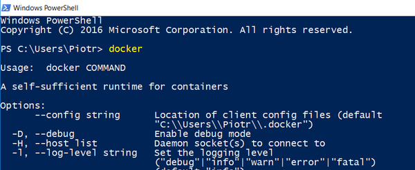 Docker in powershell