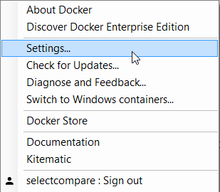 Docker for Windows - settings menu