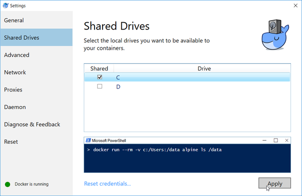 Docker for Windows - drive access settings