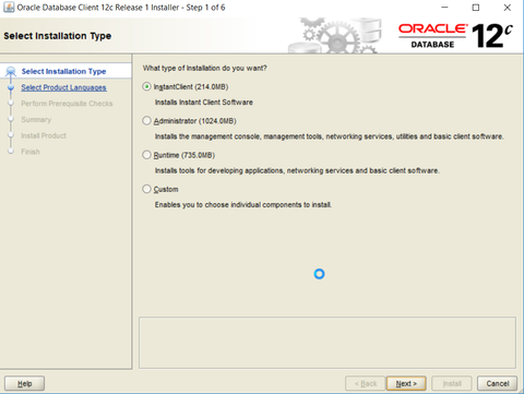 Oracle ODBC driver installation - initial screen of the installation wizard.
