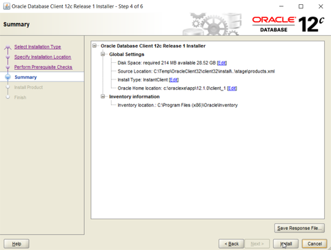 Oracle ODBC driver installation - summary of features that are being installed