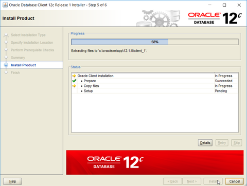 Oracle ODBC driver installation - setup progress dialog
